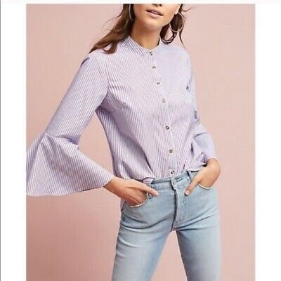 $ CDN22.41 • Buy Anthropologie Maeve Button Front Bell Sleeve Stripe Shirt Top Blouse Sz 6 Small