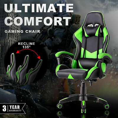 AU119.90 • Buy Gaming Chair Executive Recliner PU Leather Computer Office Racer Seating Green