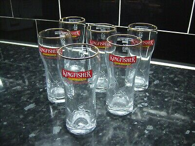 Six Kingfisher Half Pint Indian  Lager  Glasses - Brand New Freepost • 12.50£