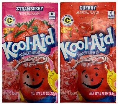 2x Kool Aid Strawberry 3.9g And Cherry 3.6g Each Flavour Drink Sachet US Import  • 2.29£