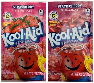 2x Kool Aid - 1x Strawberry 3.9g 1x Black Cherry 3.6g Flavour Sachet US Import  • 2.95£