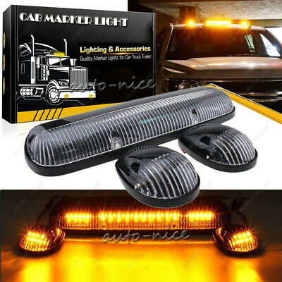 $59.79 • Buy Smoke Cab Roof Marker Lights Amber LED + Wire Assembly For Chevy GMC 2002-2007