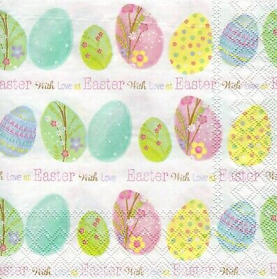 4x PAPER NAPKINS For Decoupage EASTER WITH LOVE Eggs Floral • 1.24£
