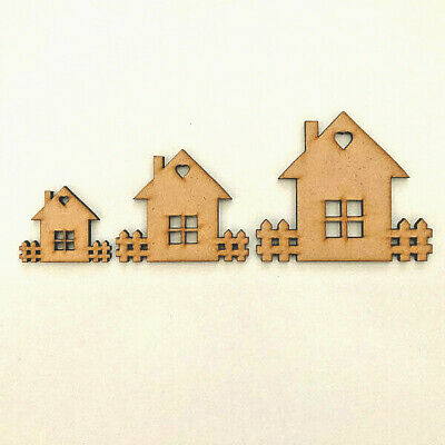 £2.95 • Buy New Home MDF House Garden Craft Shape Wooden  Gift Decoration Embellishments