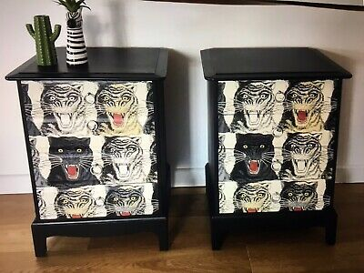 Decoupaged Bedside Or Lounge  Up Cycled Stag Cabinets With Gucci Tiger  Print • 370£