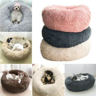 Pet Dog Cat Bed M/L/XXL/3XL/4XL-sized Luxury Shag Warm And Fluffy Donut Cushions • 23.95£