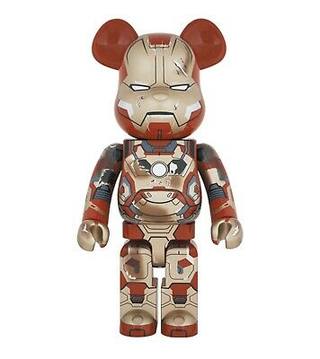 $4500 • Buy Medicom Bearbrick 2015 Iron Man Mark XLII 42 Damage Ver. 1000% Be@rbrick Ironman