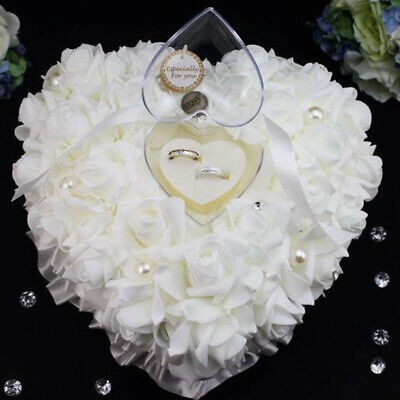 Wedding Ceremony Floral Satin Crystal Ring Bearer Pillow Cushion Ring Pillow • 6.99£