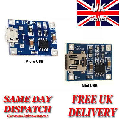 TP4056 Mini / Micro USB Lithium Battery Charging Board Charger Module 1A Arduino • 1.25£