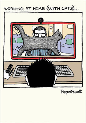Working At Home Video Call Lockdown Funny Cat Humour New Normal Greeting Card • 3.99£