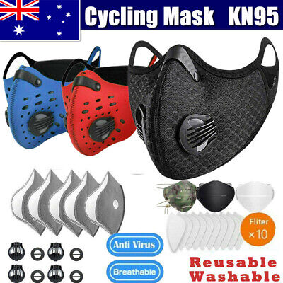 AU21.06 • Buy Reuseable Face Mask Respirator Valve & Activated Carbon Filter Pads Lot Outdoor