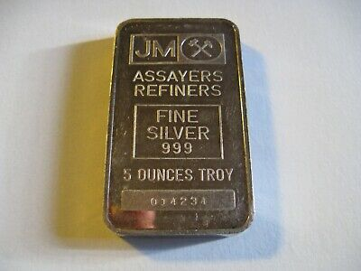$ CDN250 • Buy Vintage 5 Oz Johnson & Matthey 999 Silver Bar Serial 014234 - Type B Blank Back