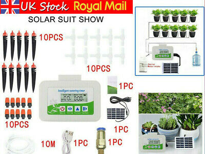 Solar Garden Plant Automatic Drip Irrigation System Kit Auto Timer Watering Pipe • 33.25£