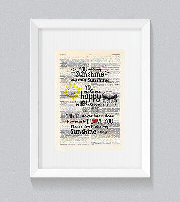You Are My Sunshine You Make Me Happy Vintage Dictionary Book Print Wall Art • 5£