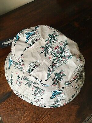 Penfield Baker Bucket Hat. Sun Hat. Grey. Palm Print. S/M • 13.99£