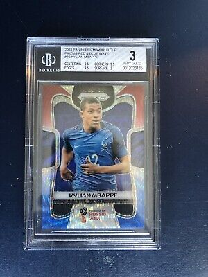 $ CDN535.27 • Buy 2018 Panini Prizm World Cup Kylian Mbappe Rookie Red Blue Wave BGS 3