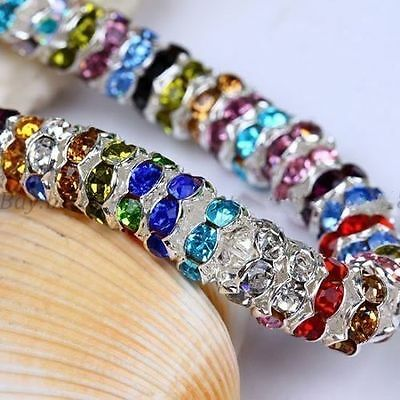 6mm 100pcs Crystal Rhinestone Paved Rondelle Spacer Beads For Jewelry Making EN • 1.59£