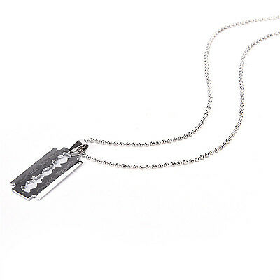 1 X Razor Blade Necklace Silver Stainless Steel Pendant Dog Tag Chain Best Fadji • 2.03£