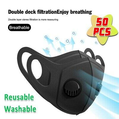 $ CDN8.85 • Buy 1-50X Reusable Mask With Breath Valve Filter Anti-Pollution Face Mouth Cover Lot