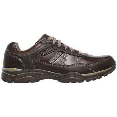 Skechers Extra Wide Fit Rovato Texon Mens Brown Leather Lace Up Shoes Size 6-10 • 44.99£
