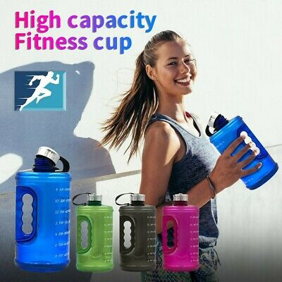 AU22.59 • Buy Gallon Water Bottle Fitness Workout With Time Marker Drink Large 73OZ  Capacity