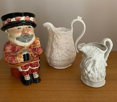 3 Decorative English Jugs Shorter Beefeater Portmeirion Gypsies Victorian Roses • 0.99£