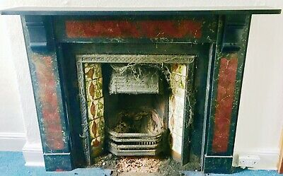 £850 • Buy Original Late Victorian Marble Effect Slate Fire Surround Cast Iron Tiled Insert