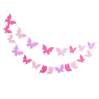 Butterfly Fabric Bunting Banner Hanging Galrand Kids Party Decoration • 3.80£