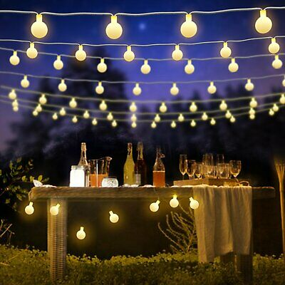 Garden Outdoor Fairy Lights Mains Powered 100/200LED Globe String Lights 8 Modes • 14.38£