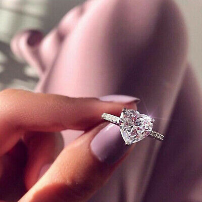 Women 925 Sterling Silver Ring Crystal Love Heart Shaped Ring Lady Gift New • 4.18£