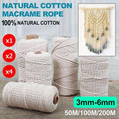 AU14.98 • Buy Cotton Macrame Rope Natural Cord Wall Hanging Plant Hangers Crafts Knitting