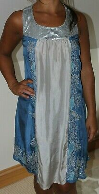 £13 • Buy Principles Silver Grey & Blue Pure Silk Beaded Embroidered Summer Dress Size 8