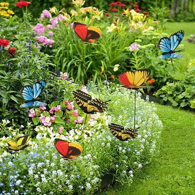 40Pcs Outdoor Colorful Butterflies On Sticks Butterfly Stakes Garden Ornaments • 5.29£