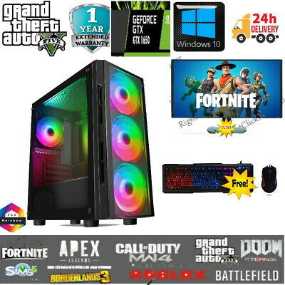 Fast Gaming PC Computer Bundle Intel Quad Core I7 16GB 240GB SSD+1TB GTX 1650 • 539.99£