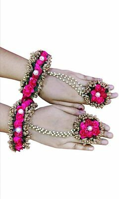 Indian Women Flower Bracelet With Ring Mehandi Haldi Night Jewelry Floral Gift  • 15.99£