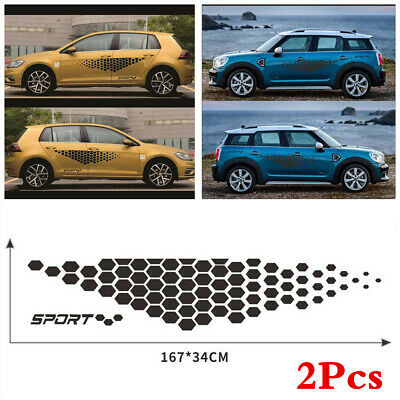 $16.10 • Buy 1Pair Glossy Black Graphics Decals Stickers Car Auto Side Body Decor Accessories