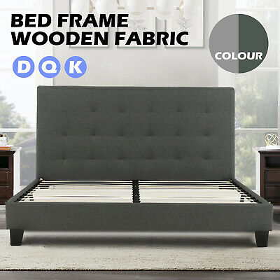 AU179.90 • Buy Bed Frame Double Queen King Wooden Fabric Mattress Base Platform Home Furniture