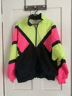 Vintage Oversized Shell Suit Jacket Yellow And Pink Size M • 13.50£