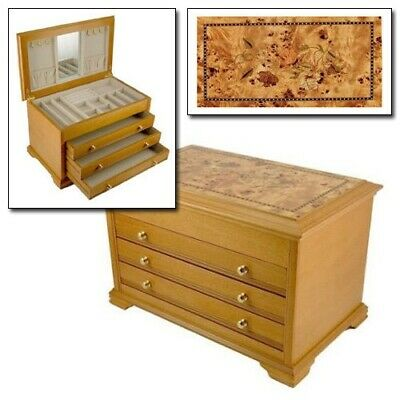 Lionite Mele Cathleen Large Wooden Chest Jewellery Box Inlaid Oriental Rose • 59.95£
