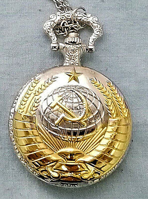 Russian Gold & Silver Pocket Watch CCCP Hammer Sickle Army Cold War Old KGB WW2 • 12.99£