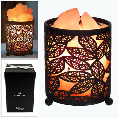 Aqualina Glowing Leaf Design Himalayan Pink Rock Crystal Salt Lamp Dimmer Switch • 19.99£