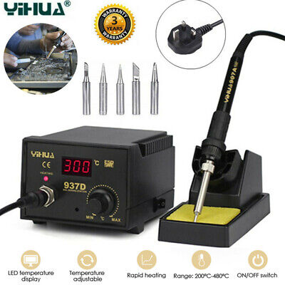 YiHua 937D 45W ESD Digital Soldering Station Solder Iron W/5 Tips Stand Kit 220V • 25.99£