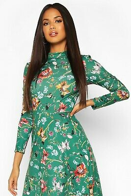 BOOHOO Women's Floral Crew Neck Summer Midi Dress, Brand New, Size 12 • 13£