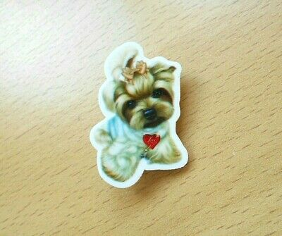 Yorkshire Terrier Puppy Brooch Dog Acrylic Shaped Grey Yorkie Pin Badge Heart • 3.25£