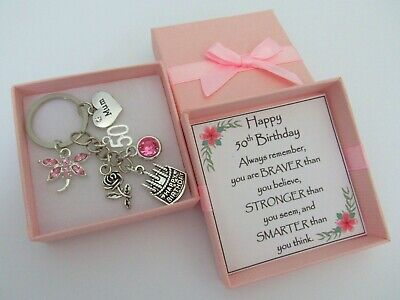 50th BIRTHDAY Gifts Charm Keyring For Mum Daughter Sister Friend Auntie Cousin • 4.99£