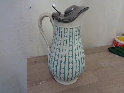 Victorian Relief Molded Bells Of Glasgow Jug With Pewter Lid  • 19.99£