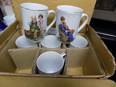 $ CDN50.21 • Buy Vtg 1980's NORMAN ROCKWELL MUSEUM Coffee Cup Mug Set Of 6