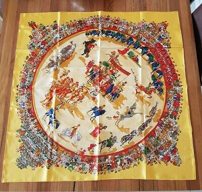 AU350 • Buy Hermes Paris Authentic Vintage Silk Carre Scarf Cirque Molier By Philippe Dumas