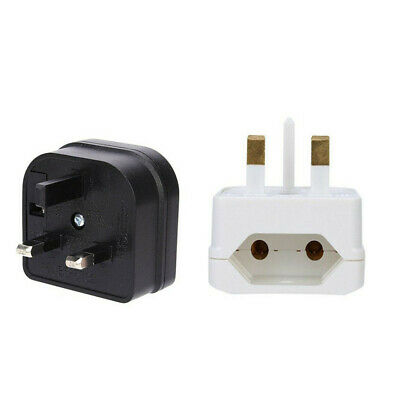 European 2 Pin To UK 3 Pin Plug Adaptor Euro EU Converter Mains Travel UK Stock • 3.99£