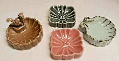 4 Vintage 1950's Wade Ring Pin Trinket Trays Dishes Whimtray Squirrel Shell   • 36.57£